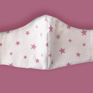 Kids Pink Stars Fabric Face Mask