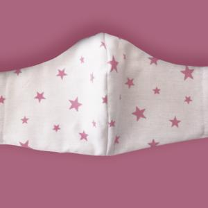 Kids Pink Stars Fabric Face Mask